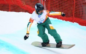 An image of a para-athlete skiing