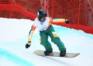An image of Ben Tudhope while snow-boarding