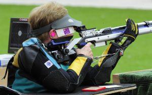 Paralympic shooter Libby Kosmala aims at the target