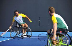 An image of Adam Kellerman in action during wheelchair tennis