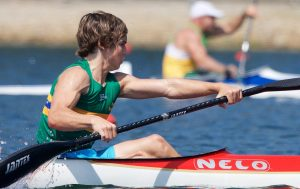 Image of Dylan Littlehales in action while taking part in para-canoeing