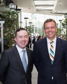 Qantas Group CEO Alan Joyce, APC CEO Jason Hellwig and Qantas Executive Manager Group Safety and Health Tim Jenkins