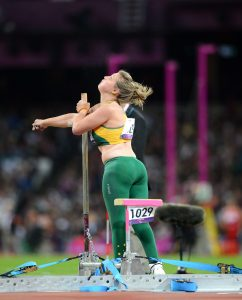 Brydee Moore (AUS) competes in the Women's Shot Put F33 Athletics (Thursday 6th Sept) - Olympic Stadium Paralympics - Summer / London 2012  London, England 29 Aug - 9 Sept © Sport the library/Courtney Crow