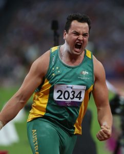 Todd Hodgetts (AUS), Men's Shot Put - F20. Athletics, Olympic Stadium (Friday 7th Sept) Paralympics - Summer / London 2012 London England 29 Aug - 9 Sept © Sport the library/Joseph Johnson