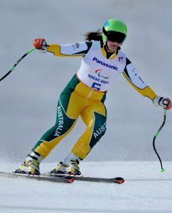 Australian skier Melissa Perrine & guide Andrew Bor / Women's Visually Impaired Downhill Australian Paralympic Team / Day 01 Rosa Khutor Alpine Center Paralympics - 2014 Sochi Russia Winter Games Saturday March 8th 2014 © Sport the library / Jeff Crow