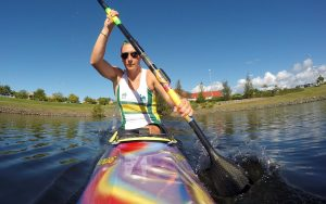 Image of Amanda Reynolds in action during para-canoeing