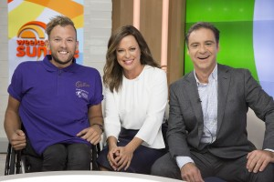 Paralympian Dylan Alcott with Weekend Sunrise hosts Angela Cox and Andrew O'Keefe