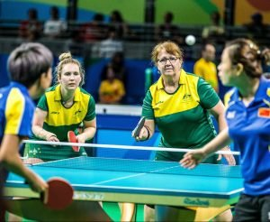 Andrea McDonnell and Melissa Tapper fight hard in a battle against China in the Womens team event - Classes 2-10 on day 7 at Riocentre Pavillion 3 2016 Paralympic Games - RIO Brazil Australian Paralympic Committee Thursday 15th September 2016 © Sport the library / Drew Chislett