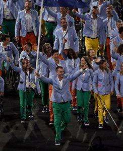 Brad Ness leads out the Australian Team at the Opening Ceremony - Maracana  2016 Paralympic Games - RIO Brazil Australian Paralympic Committee Rio Brazil  7 September 2016 © Sport the library / Jeff Crow