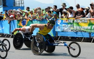 An image of Kurt Fearnley in action during a marathon event