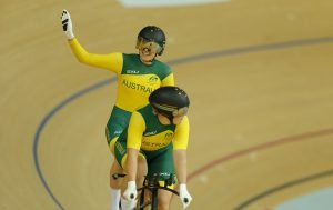 An image of Jessica Gallagher and Madison Janssen riding a cycle