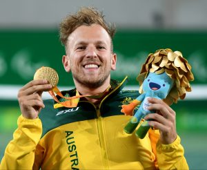 Dylan Alcott (AUS) defeats Andy Lapthorne (GBR) – for the Men's quad singles gold medal Olympic Stadium / Day 7 WC Tennis 2016 Paralympic Games - RIO Brazil Australian Paralympic Committee Rio Brazil Wednesday 14th September 2016 © Sport the library / Jeff Crow