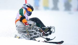 Australian skier Victoria Pendergast in action during the Women's Sitting Skiing Slalom Australian Paralympic Team / Day 05 Rosa Khutor Alpine Center Paralympics - 2014 Sochi Russia Winter Games Wednesday March 12th 2014 © Sport the library / Jeff Crow