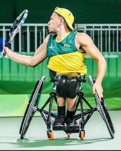 Dylan Alcott and Heath Davidson compete in the Wheel chair tennis Doubles match at the Olympic tennis centre on court 2 on Day 4.   2016 Paralympic Games - RIO Brazil Australian Paralympic Committee Saturday 10th September 2016 © Sport the library / Drew Chislett