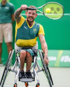 Heath Davidson during his Quarterfinal Wheelchair Tennis match against Andy Lapthorne.  Olympic Tennis Centre 2016 Paralympic Games - RIO Brazil Australian Paralympic Committee Saturday 10 September 2016 © Sport the library / Greg Smith