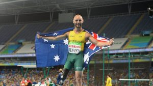 Scott Reardon AUS wins Gold in the Men's 100 T42 Final. Athletics - Rio 2016 Paralympics  Games  September 15, 2017 Olympic Stadium, Rio de Janeiro, Brasil (Brazil) © Sport the library / Courtney Crow