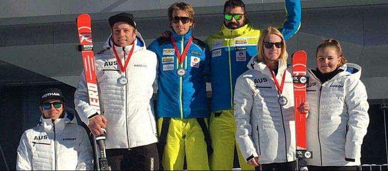 Para-alpine skiers podium in Switzerland