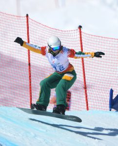 Joany Badenhorst (AUS) during the 1st official ttraining session on the Snowboard Boarder Cross course  Australian Paralympic Team / Day 06 Rosa Khutor Alpine Center Paralympics - 2014 Sochi Russia Winter Games Thursday March 13th 2014 © Sport the library / Jeff Crow