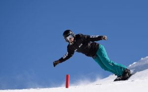 An image of Joany Badenhorst in action while snowboarding