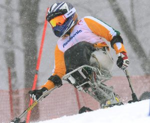 Australian skier Victoria Pendergast in action during the Women's Sitting Skiing Slalom / 2nd run Australian Paralympic Team / Day 05 Rosa Khutor Alpine Center Paralympics - 2014 Sochi Russia Winter Games Wednesday March 12th 2014 © Sport the library / Jeff Crow