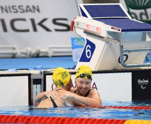 Maddison Elliott AUS wins Gold and Lakeisha Patterson AUS wins Silver in the Women's 50m Freestyle S8 Final. Swimming - September 16, 2016 Olympic Aquatic Stadium, Rio de Janeiro, Brasil (Brazil) Courtney Crow / Sport the library