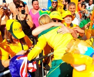 Katie Kelly with guide Michellie Jones wins gold in the Women's PT5 Triathlon in a time of 1:1:18 and hugs her Mom surrounded by family. Swimming - September 11, 2016 Fort Copacabana, Rio de Janeiro, Brasil (Brazil) Courtney Crow / Sport the library