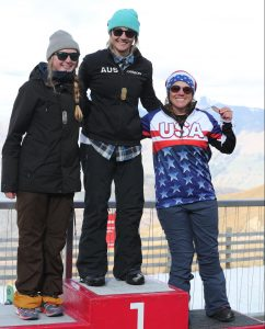 Lower limb 2 womens winners from left: Cassie Cava from GBR, 2nd, Joany Badenhorst from AUS, 1st,  and Brittani Court from USA , 3rd, at Treble Cone during the World Para Snowboard Banked Slalom during the Audi quattro Winter Games NZ held  in Naseby, Central Otago, New Zealand.  1st September 2017            in the mixed doubles final of the Maniototo Curling International during the Audi quattro Winter Games NZ held  in Central Otago, New Zealand.  30th August 2017
