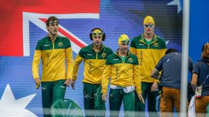 Timothy Disken, Matthew Levy, Blake Cochrane, Rowan Crothers - Australian Men's 4X100m Freestyle Relay on night seven of the Paralympic Swimming Tournament Olympic Aquatics Stadium 2016 Paralympic Games - RIO Brazil Australian Paralympic Committee Wednesday 14 September 2016 © Sport the library / Greg Smith
