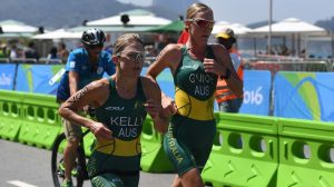 Katie Kelly with guide Michellie Jones wins gold in the Women's PT5 Triathlon in a time of 1:1:18. Swimming - September 11, 2016 Fort Copacabana, Rio de Janeiro, Brasil (Brazil) Courtney Crow / Sport the library