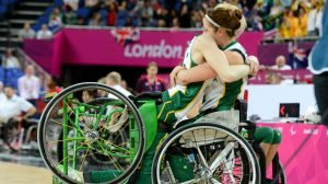 Amber Merritt AUS and Cobi Crispin celebrate moving on to the final.  Women's Australia vs. USA in the semi-final Wheelchair Basketball (Thurs 6th Sept) - North Greenwhich Arena Paralympics - Summer / London 2012  London, England 29 Aug - 9 Sept © Sport the library/Courtney Crow