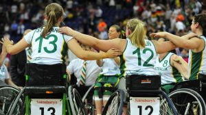 AUS team celebrates together their silver medal. Women's Australia vs. GER in the final Gold Medal match. Wheelchair Basketball (Fri 7th Sept) - North Greenwhich Arena Paralympics - Summer / London 2012  London, England 29 Aug - 9 Sept © Sport the library/Courtney Crow