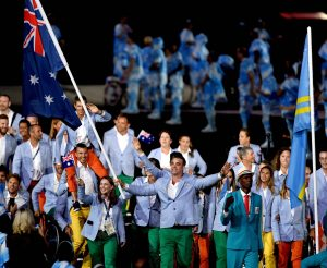 Brad Ness (AUS) Paralympic basketballer carries the flag for Australia. Ro 2016 Paralympics  Games Opening Ceremony September 7, 2017 Maracana Stadium, Rio de Janeiro, Brasil (Brazil) Courtney Crow / Sport the library