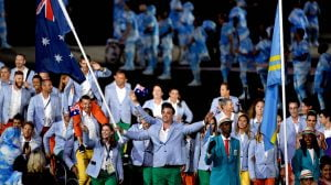 Brad Ness (AUS) Paralympic basketballer carries the flag for Australia. Ro 2016 Paralympics  Games Opening Ceremony September 7, 2017 Maracana Stadium, Rio de Janeiro, Brasil (Brazil) Courtney Crow / Sport the library