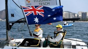Daniel Fitzgibbon and Liesl Tesch - SKUD 18 GOLD  Olympic Stadium / Day 10 Sailing  2016 Paralympic Games - RIO Brazil Australian Paralympic Committee Rio Brazil  Saturday 17th September 2016 © Sport the library / Jeff Crow