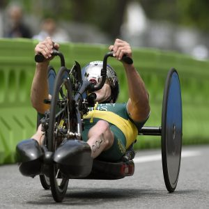 An image of Bill Chaffey in action during para-triathlon