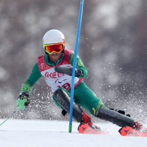 An image of Mitchell Gourley in action while skiing
