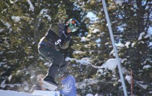 An image of Matt Robinson while snow-boarding