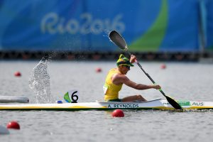 Image of Amanda Reynolds in action while para-canoeing