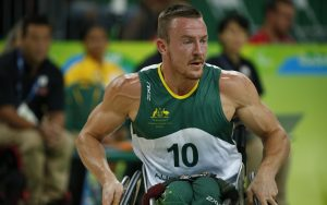 An image of a para-athlete during a game of wheelchair basketball