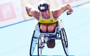 Image of a parathlete in action during triathlon