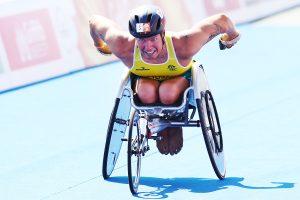 Image of a parathlete in action during triathlon