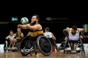 Image of parathletes playing wheelchair rugby