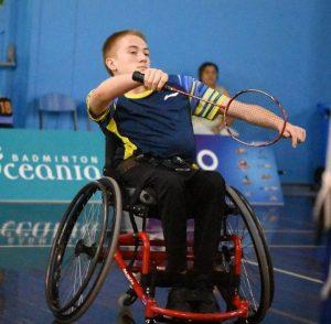 Image of an Australian para-athlete playing badminton