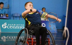 Image of an Australian para-athlete playing badminton