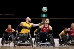 Image of an Australian para-athlete playing wheelchair basketball