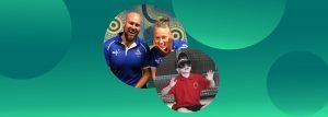 Image of Australian paralympians and a child with virtual reality glasses