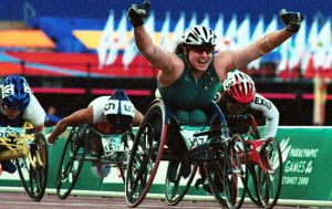 louise sauvage celebrating after a race