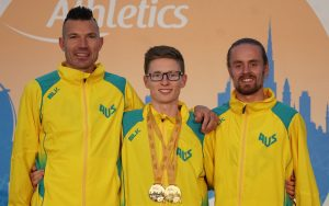 three australian male paralympians smiling