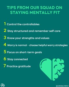 Image with text and 7 tips on staying mentally fit