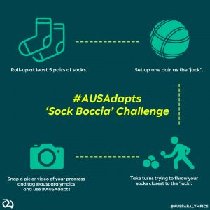 Image with text explaining how to play sock boccia